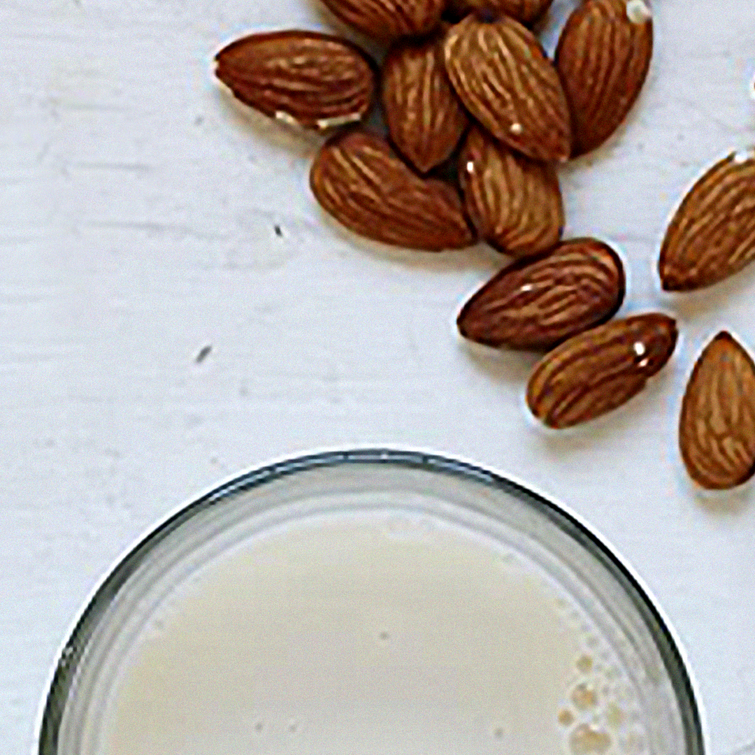 ALMOND MILK - One cup of almond milk provides 1 gram of fiber, 1 gram of protein and 2.5 grams of fat.