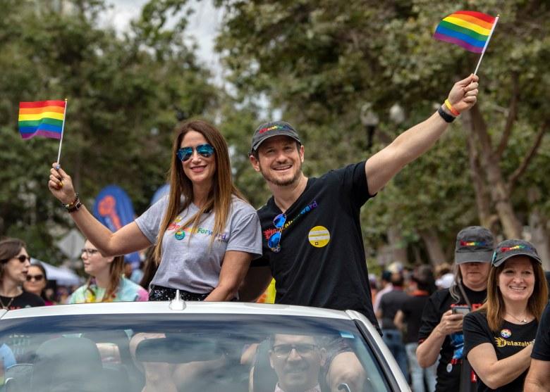 Blaze Bernstein's parents, Jeanne Pepper and Gideon Bernstein, take part in the 2019  Blaze It Forward  OC Pride LGBT Parade, dedicated to their son in Santa Ana on Saturday, June 22, 2019.(Photo by Mindy Schauer, Orange County Register/SCNG)