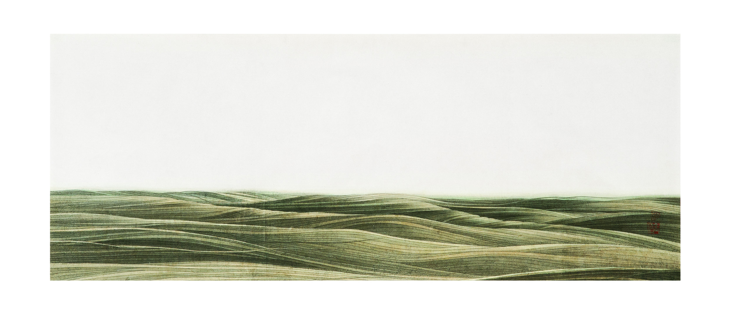 Hong Zhang. Flint Hairs#1. Ink on rice paper. 18in x 48in. 2012.