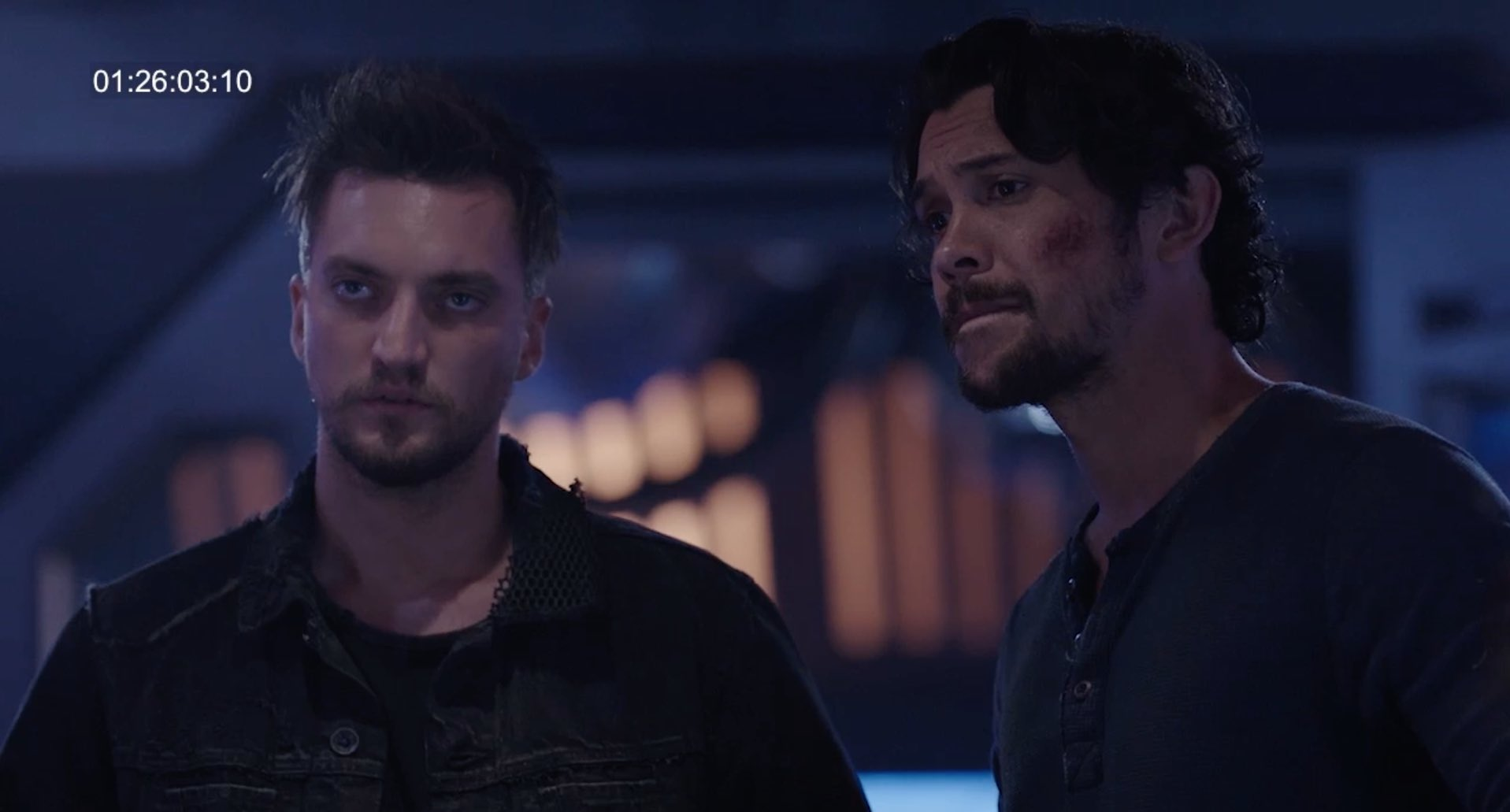 John Murphy (Richard Harmon) and Bellamy Blake (Bob Morley) in Season 5 of  The 100  (via @JRothenbergTV)