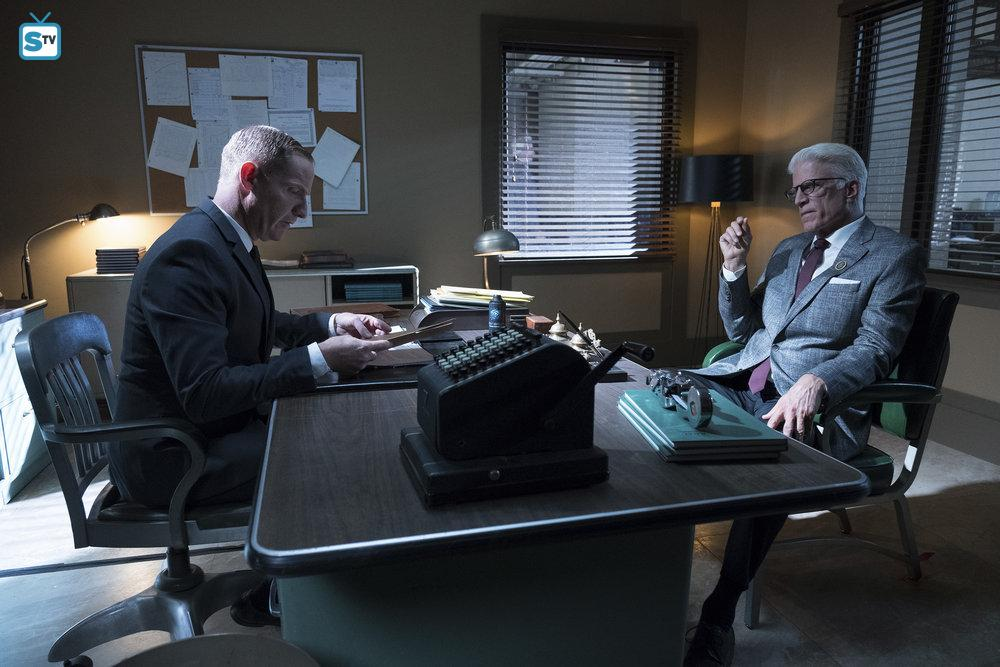 Shawn (Marc Evan Jackson) and Michael (Ted Danson)