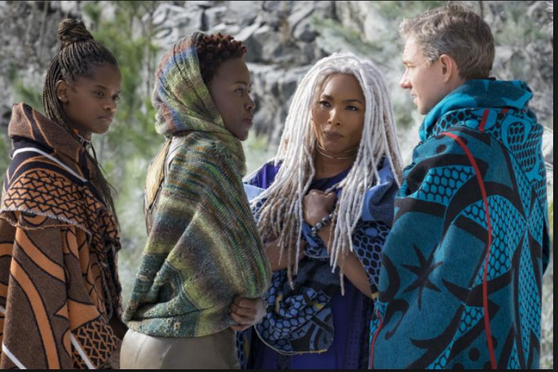 Everett, Ramonda, Shuri, and Nakia travel to the Jabari