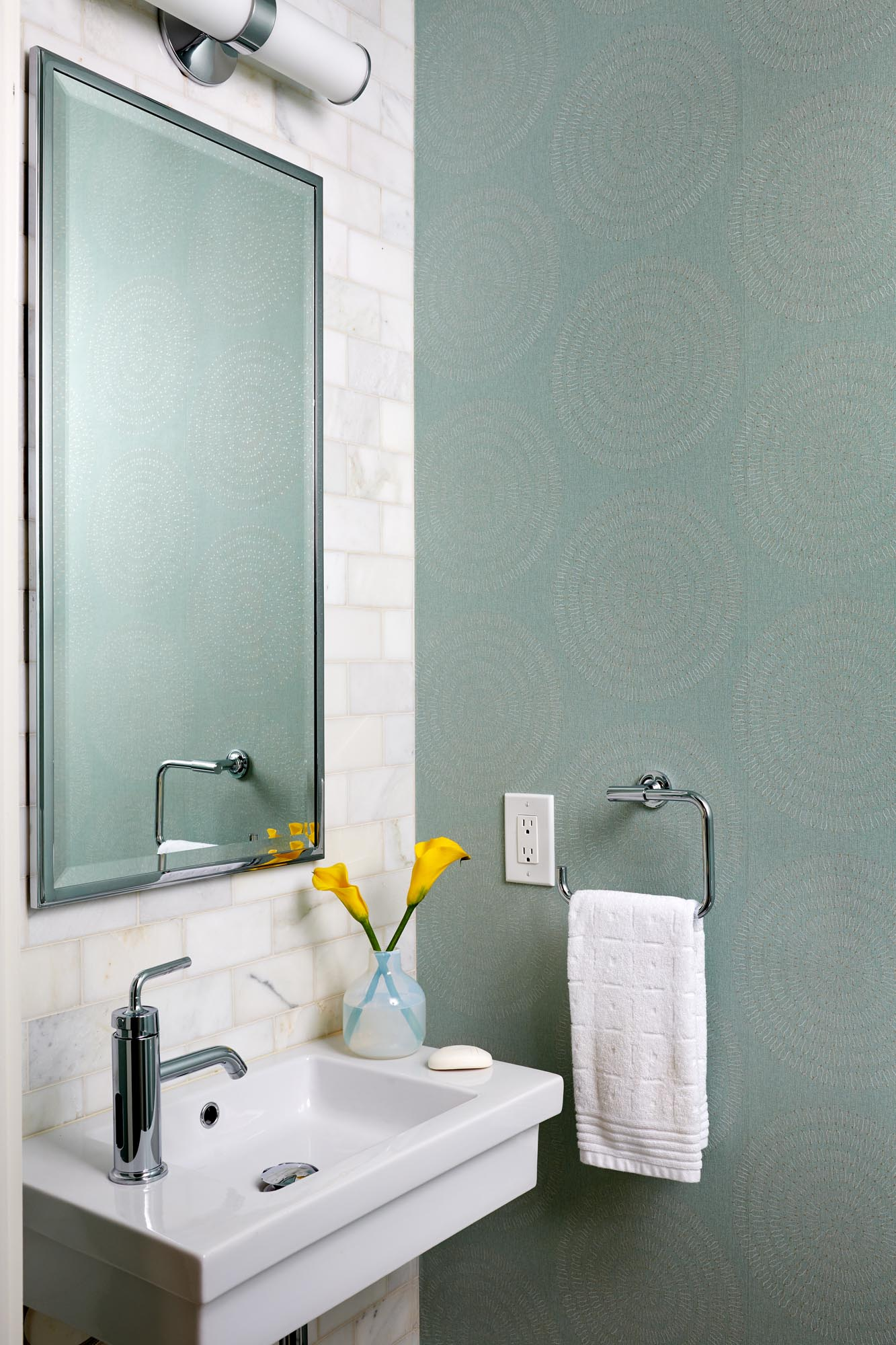 Boston powder room interior design by Dane Austin Design