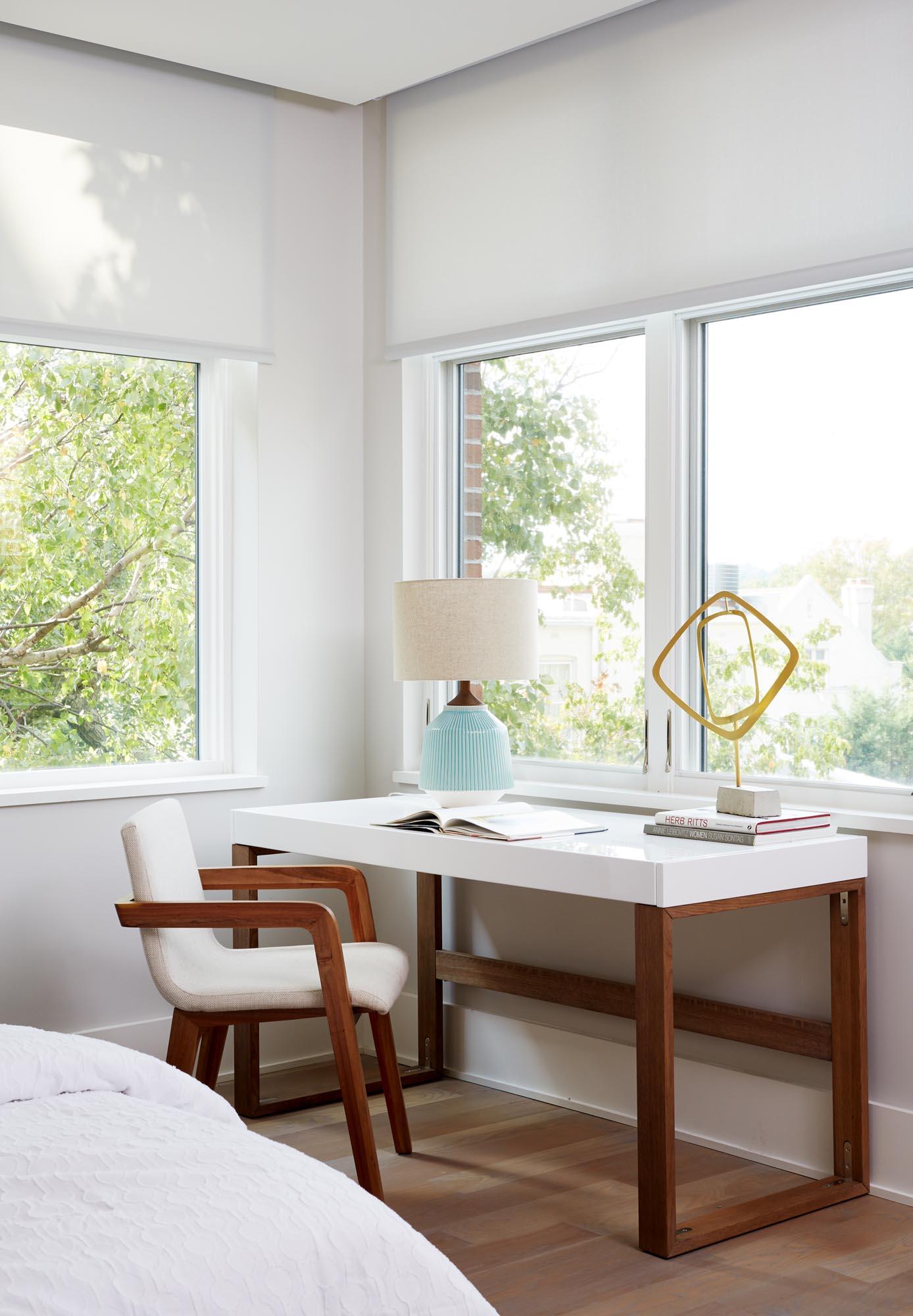 Boston modern bedroom home office interior design by Dane Austin Design