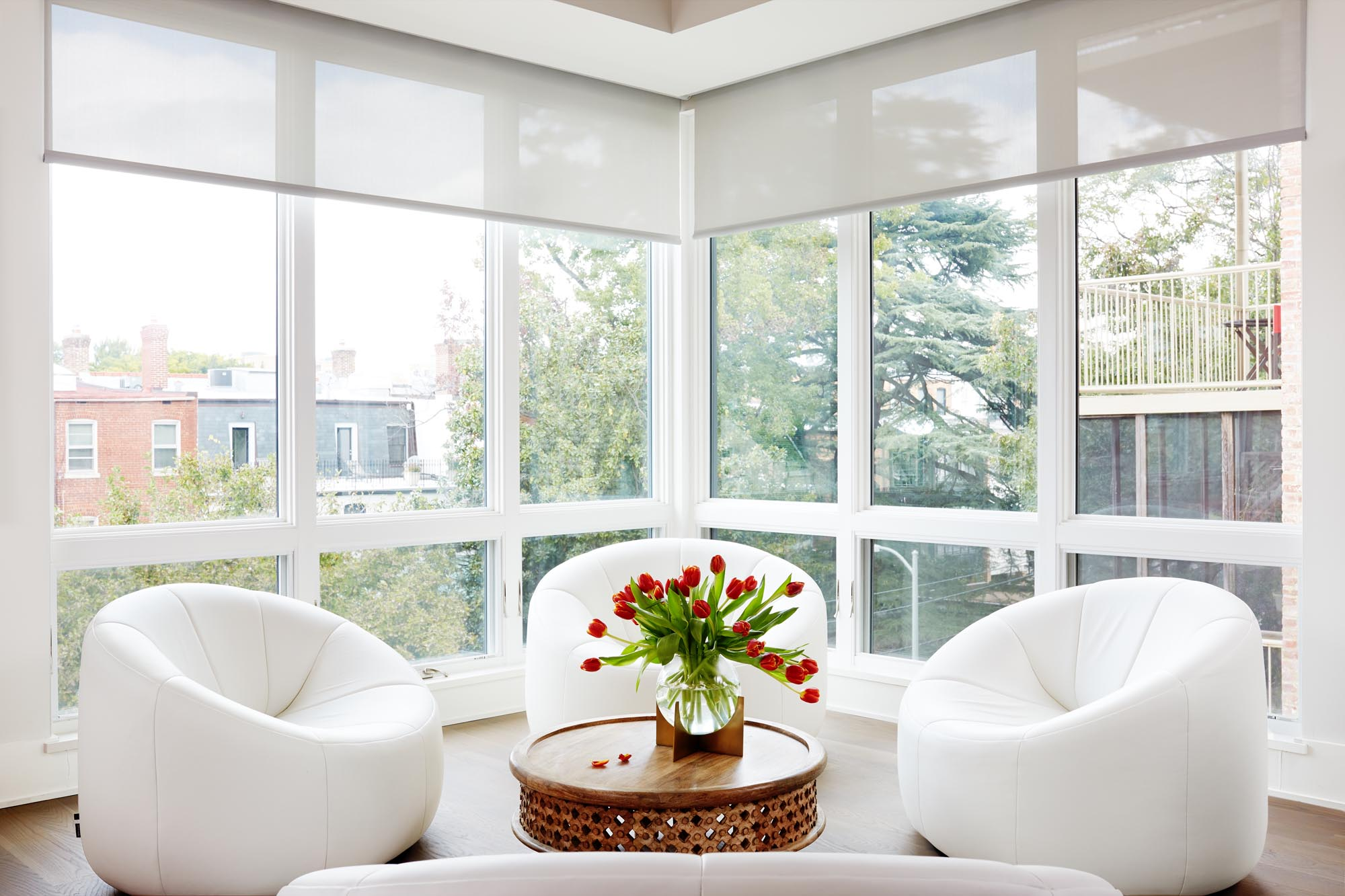 Boston living room with Glass walls design by Dane Austin Design