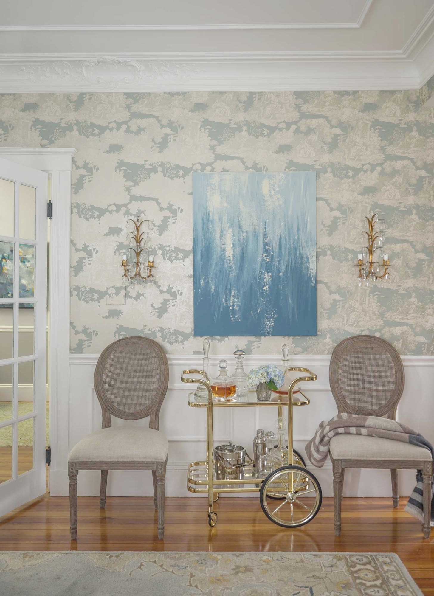 Dining Room Mirror Wallpaper Bar cart-Interior with two single chairs