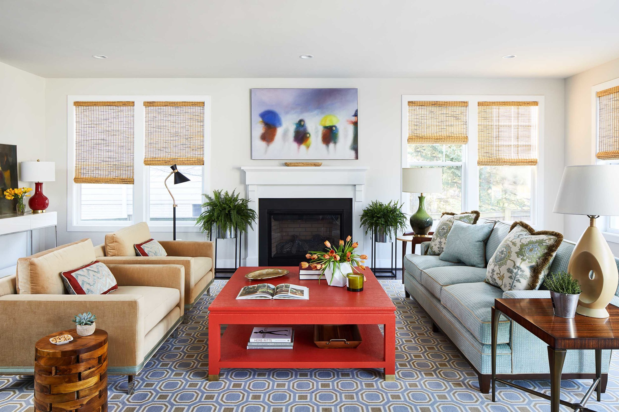 Colorful living room with bright red coffee table