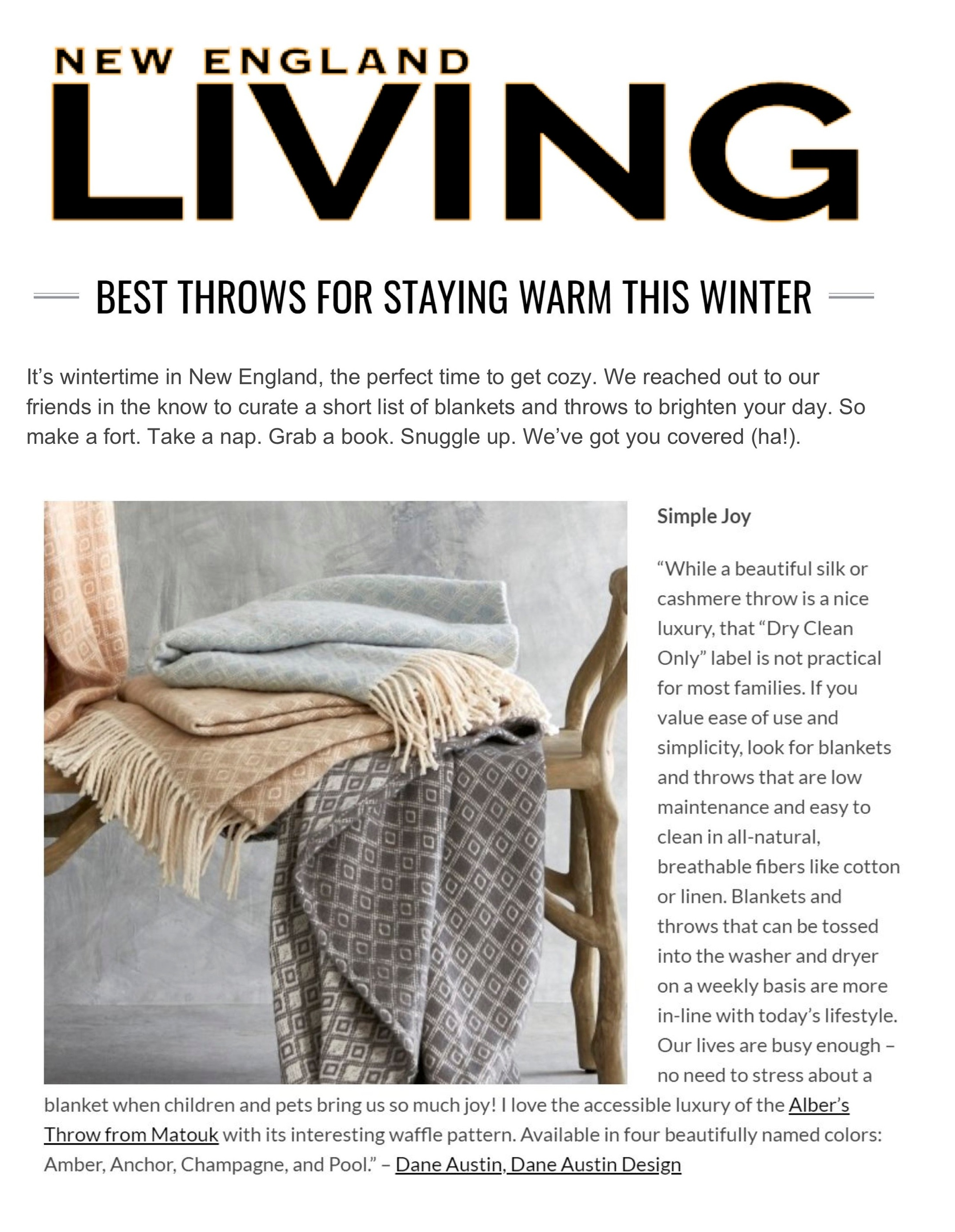 Dane Austin Design featured in New England Living, February 2018