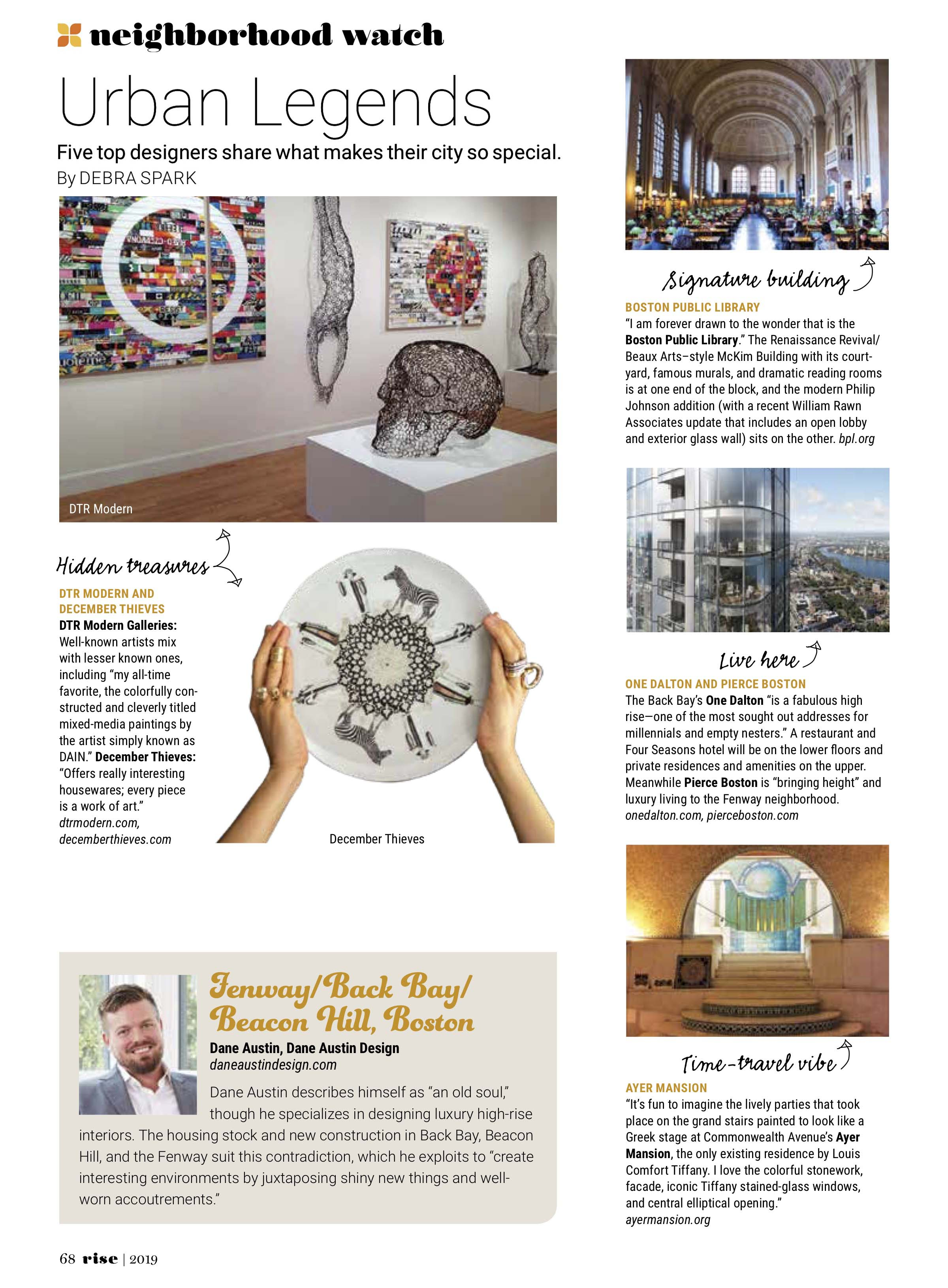 Dane Austin Design featured in Rise Magazine, Spring 2019