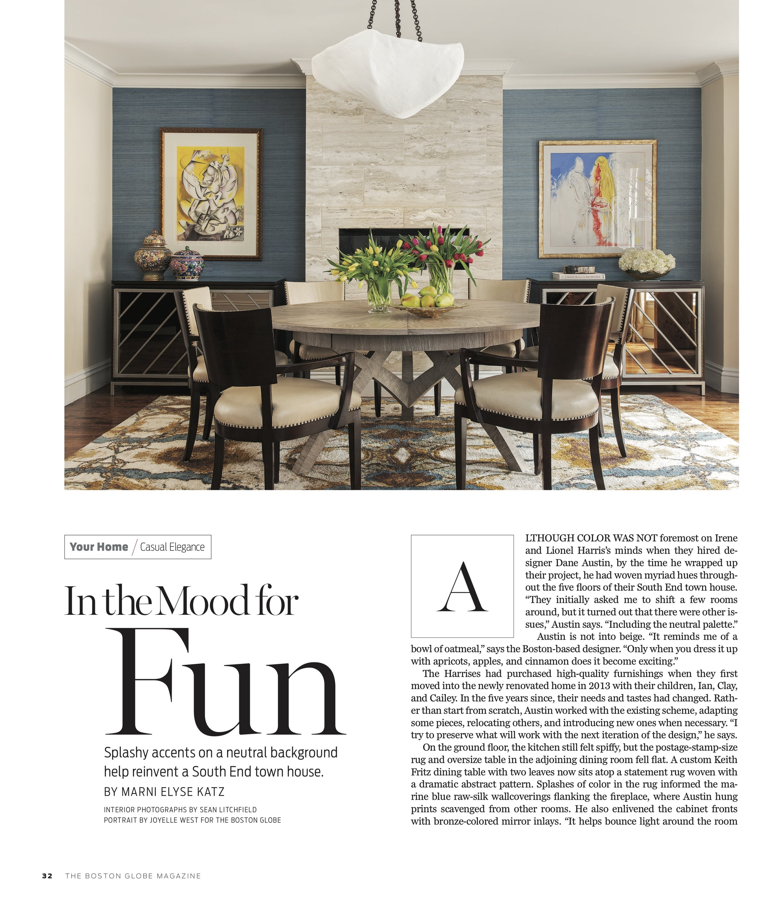 Dane Austin Design featured in Boston Globe Magazine March 2019 2