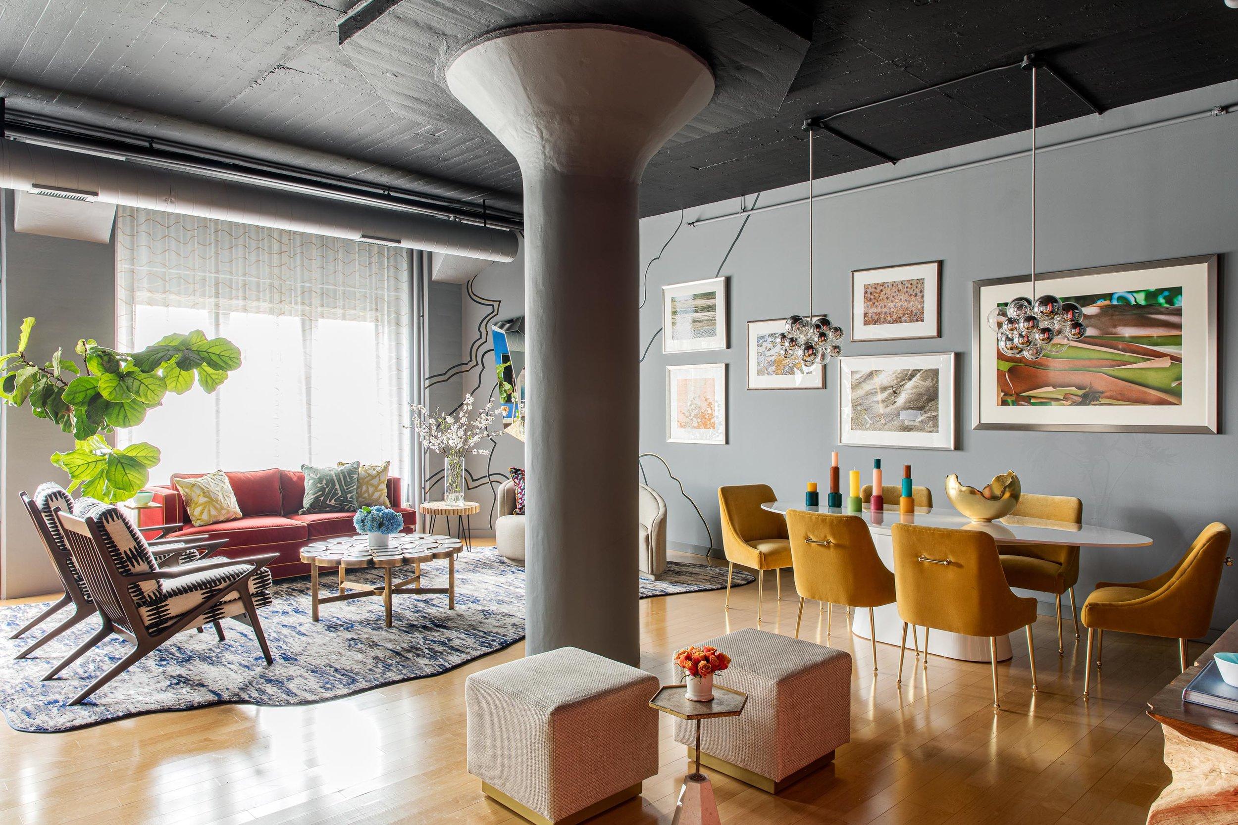 Boston living room loft space interior design by Dane Austin Design