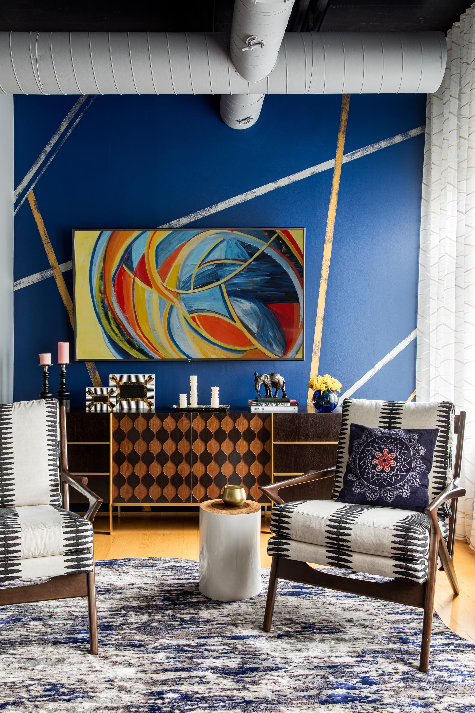 Boston living room area rug design by Dane Austin Design