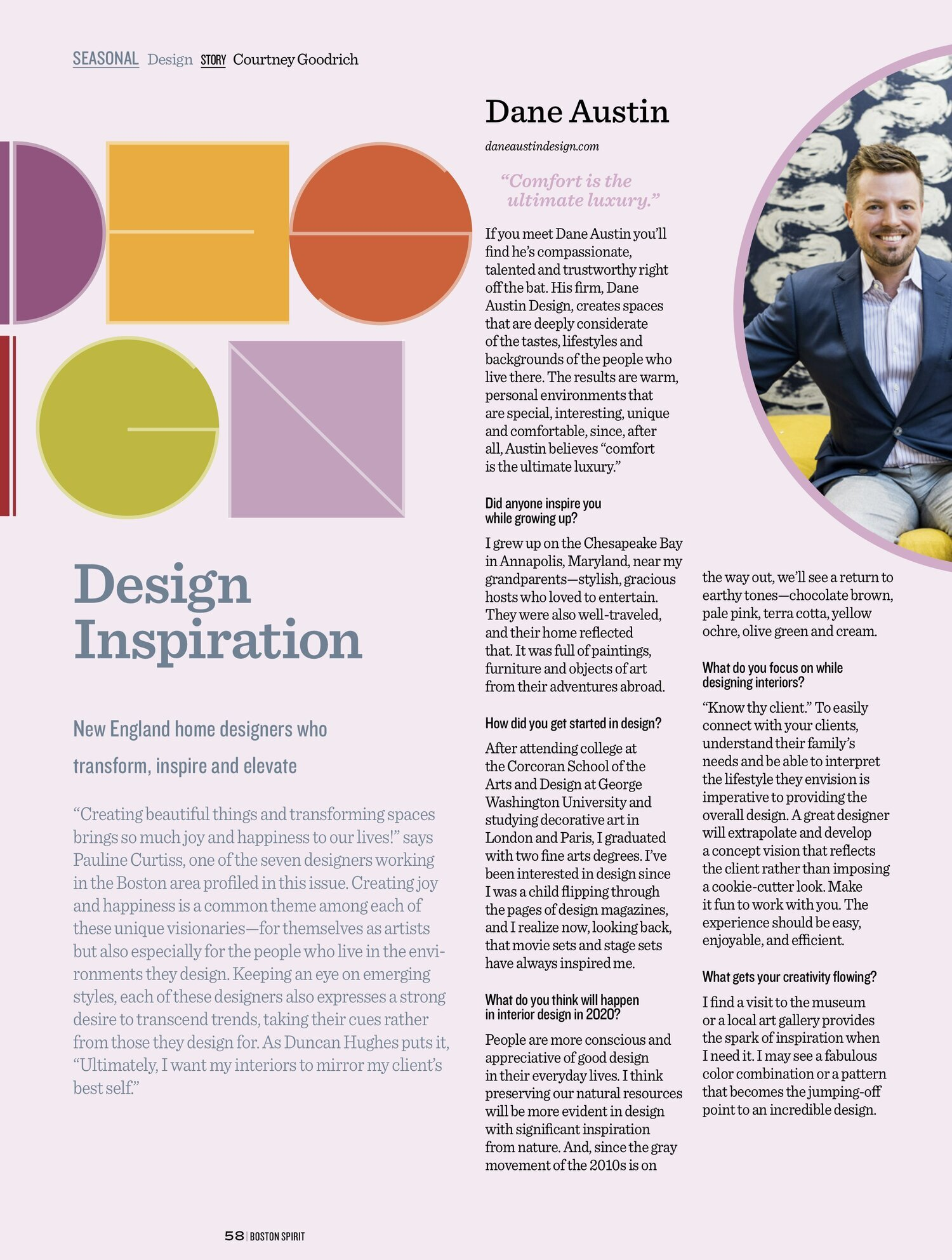 Design Inspiration With Dane Austin Boston Spirit Magazine