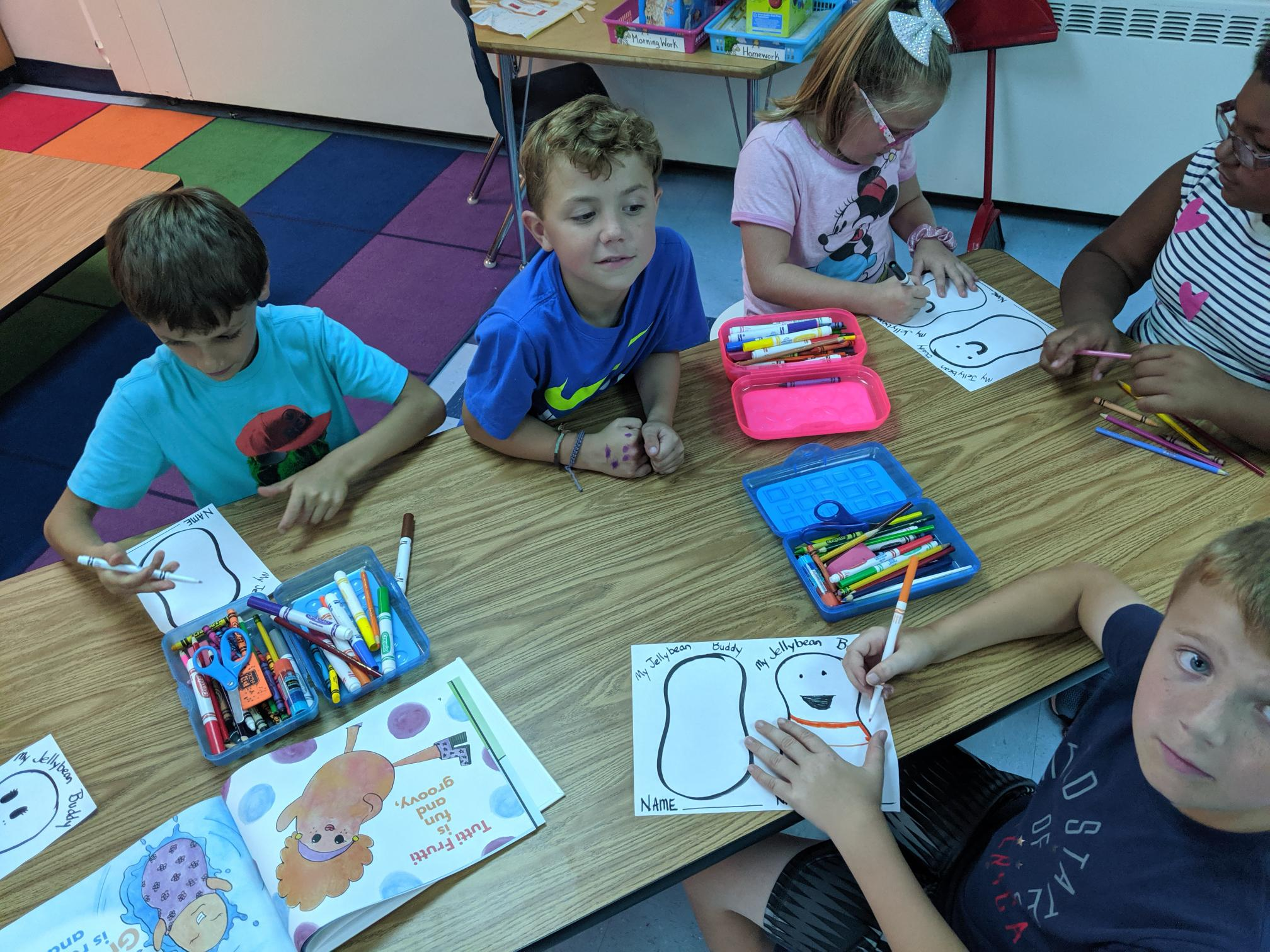 Kindergarten class working on a JELLYBEANS-inspired art project for getting to know their new classmates in Sept. 2019. :-)