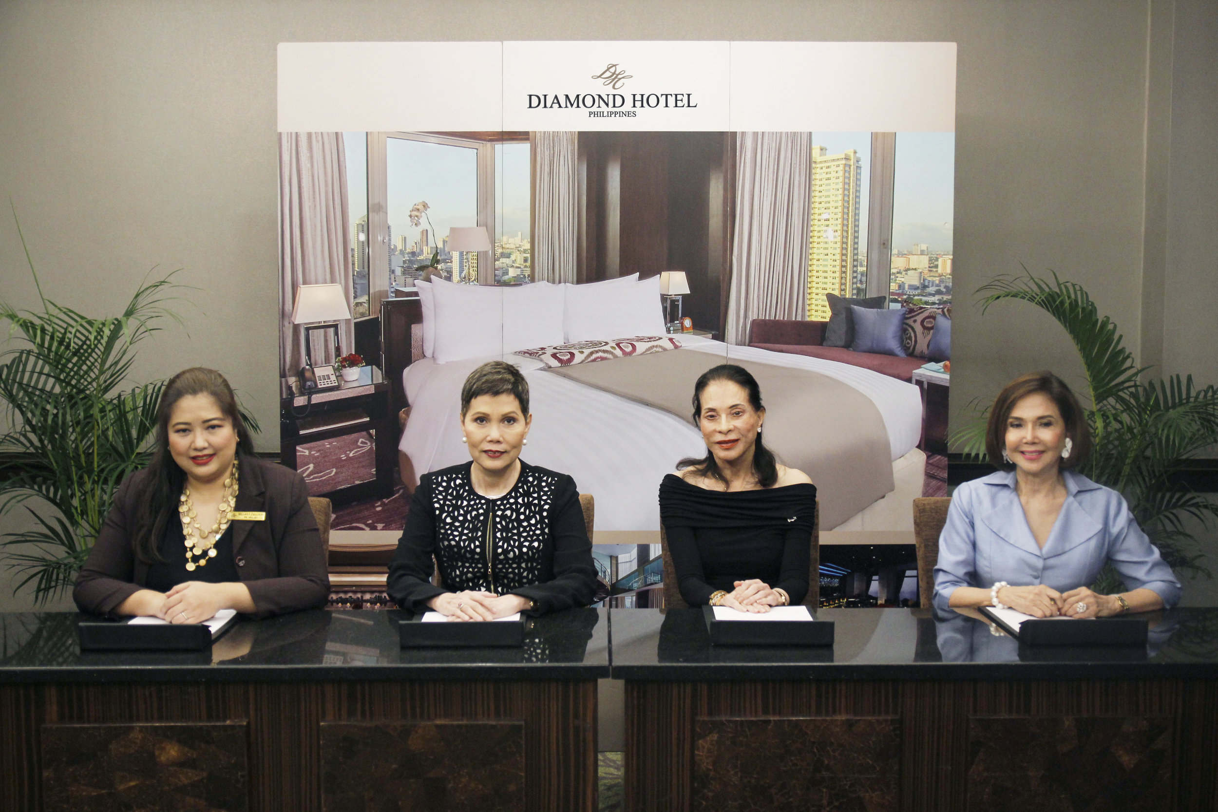 From left are: Melanie Pallorina, public relations manager of Diamond Hotel Philippines; Vanessa Ledesma Suatengco, general manager of Diamond Hotel Philippines; Dr. TingTing Cojuangco, founder of The Elegant Filipinas; and honorary consul general of Monaco, Dr. Fortune Ledesma.