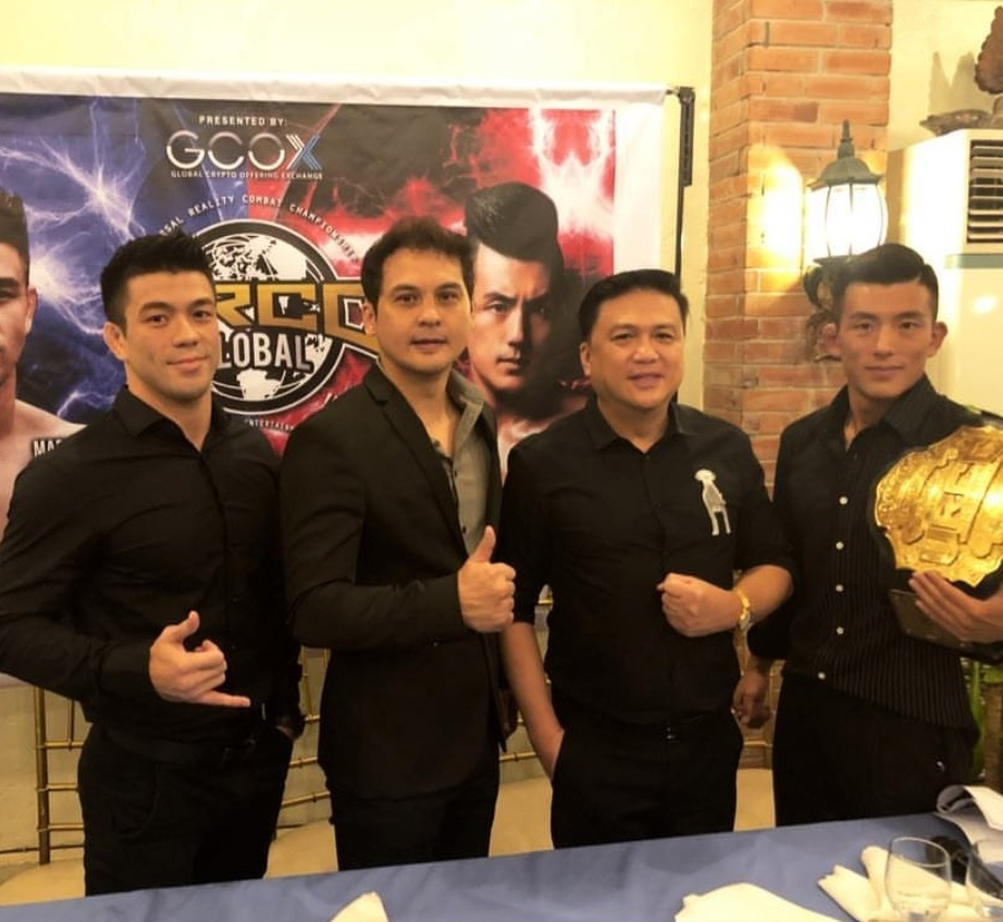 """Mark""""Mugen"""" Srtiegle, Alvin Aguilar, Arnold Vegafria, and Do Gyeom Lee at the presscon for Colossal at Annabel's"""
