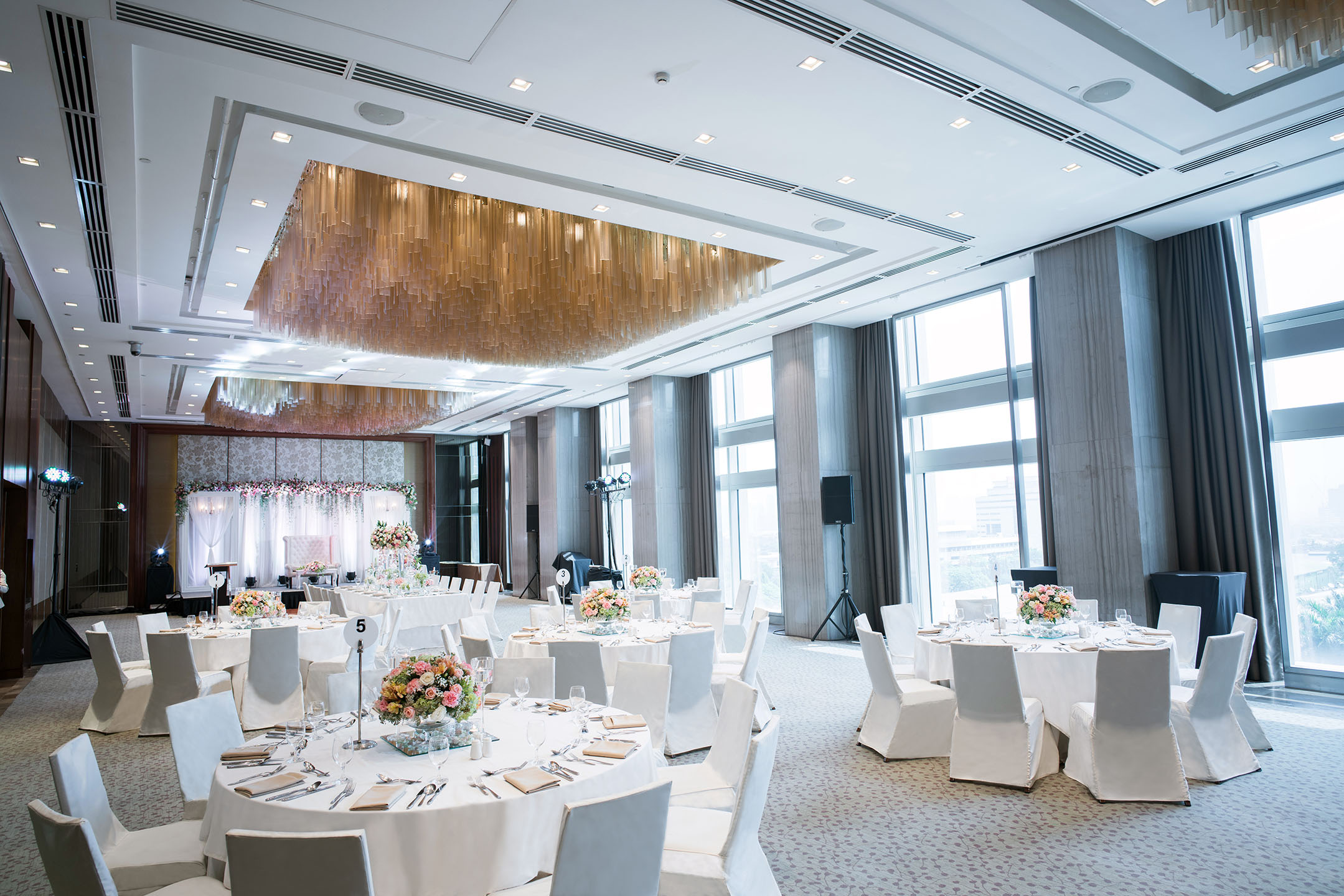 The Marco Polo Ortigas ballroom all ready to welcome newly married couples and their guests