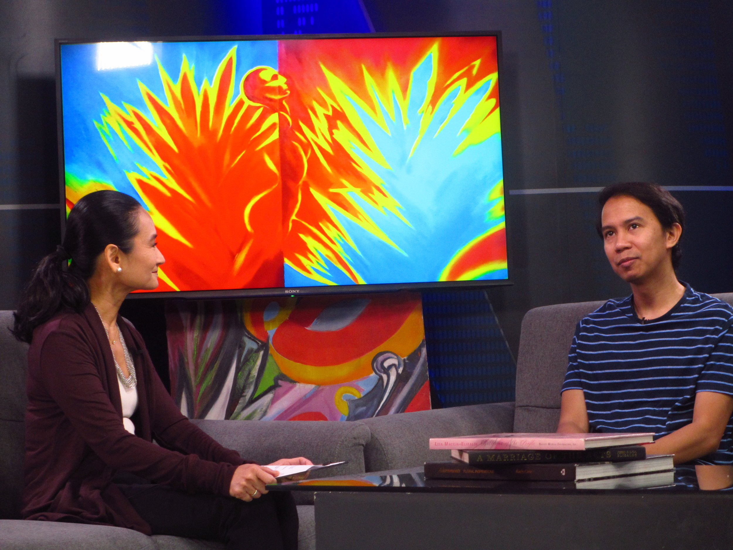 Filmmaker Kip Oebanda (right) tells  Art 2 Art host Lisa Macuja why he felt compelled to share the story of his early life in the critically acclaimed  Liway .