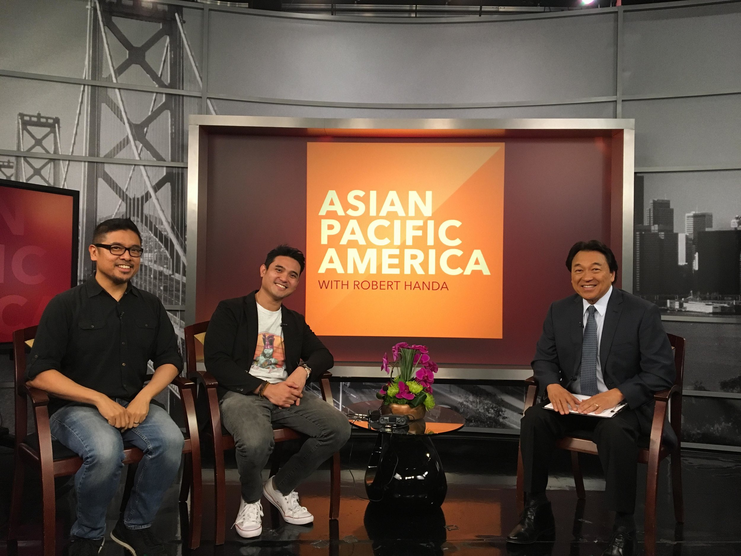 NBC Bay Area's Robert Handa (right), host of Asian Pacific America, interviews H.P. Mendoza, director of  Bitter Melon  (left) and Cinematografo Festival and Exhibitions Director Miguel Sevilla (center) to find out more about  Cinematografo International Film Festival  .