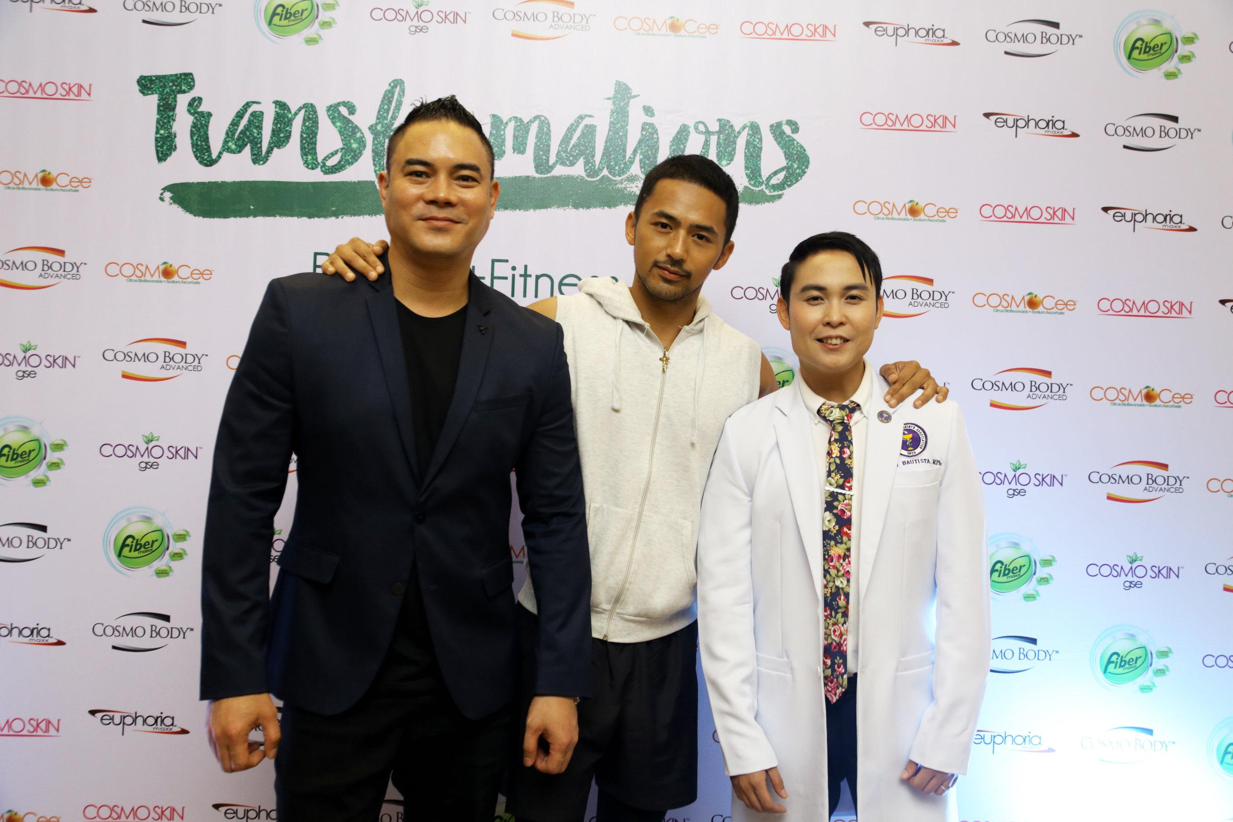 BFC's Red Gatus and Nino Bautista flank endorser and Kapamilya star Enzo Pineda