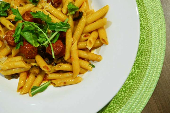 Delighful Sapanish chorizo with mushroom penne