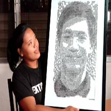 An I-Bilib-er draws Christ Tiu's face