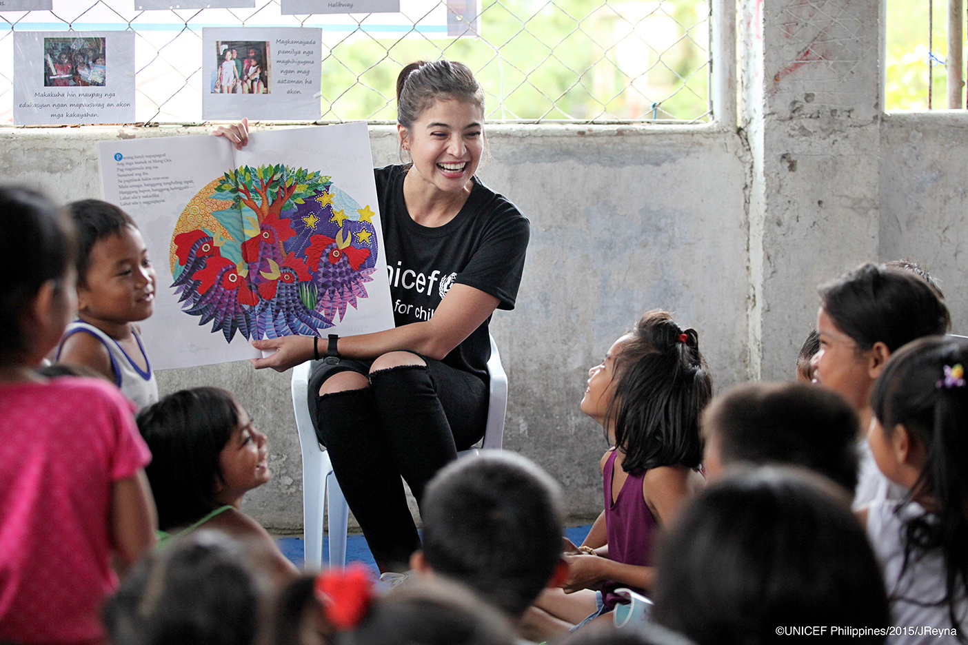 Anne Curtis, now UNICEF national goodwill ambassador, with children