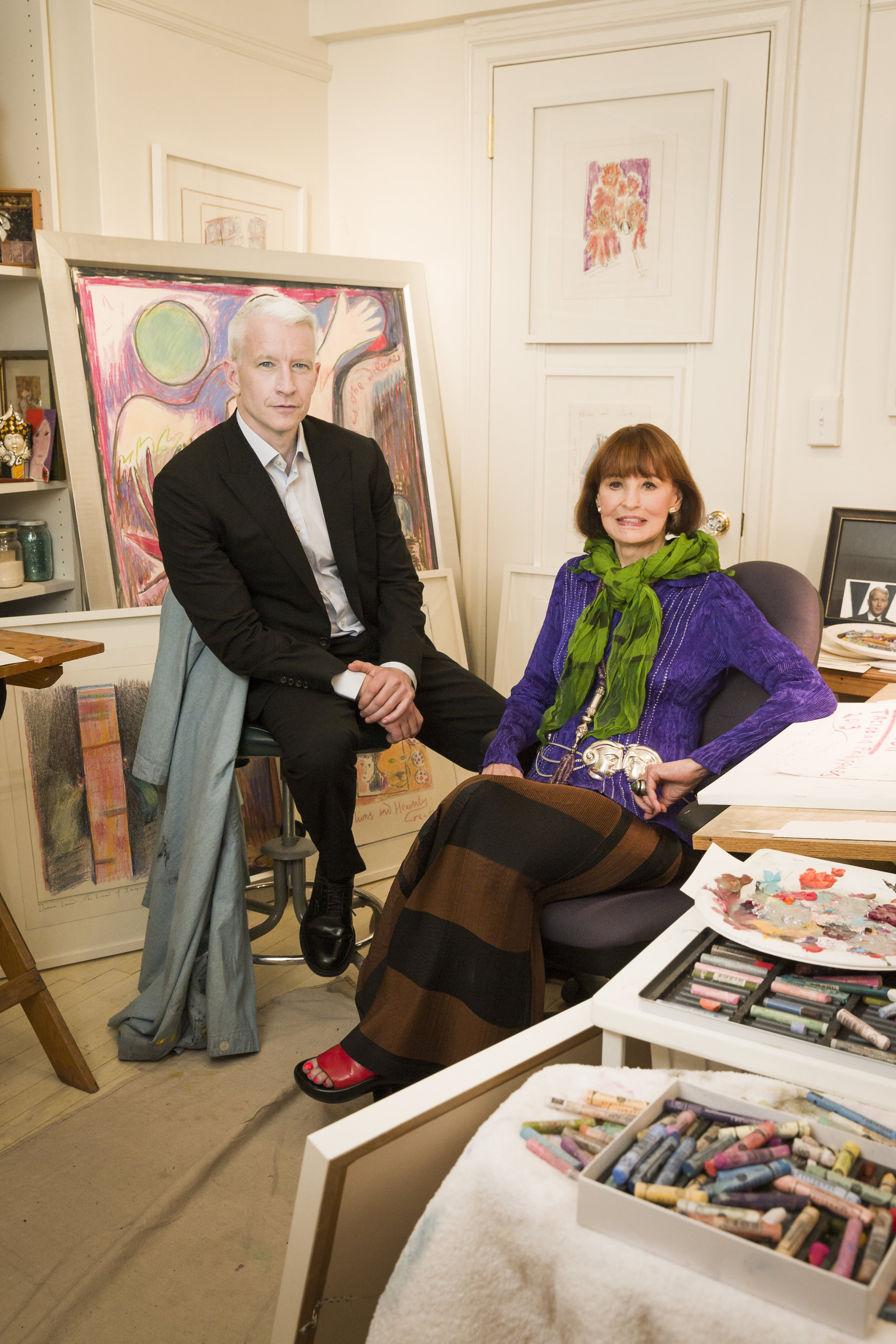"""Mother and son"""": Gloria Vanderbilt whose jeans brand was a global sensation in the 70's with son CCN anchor Anderson Cooper"""