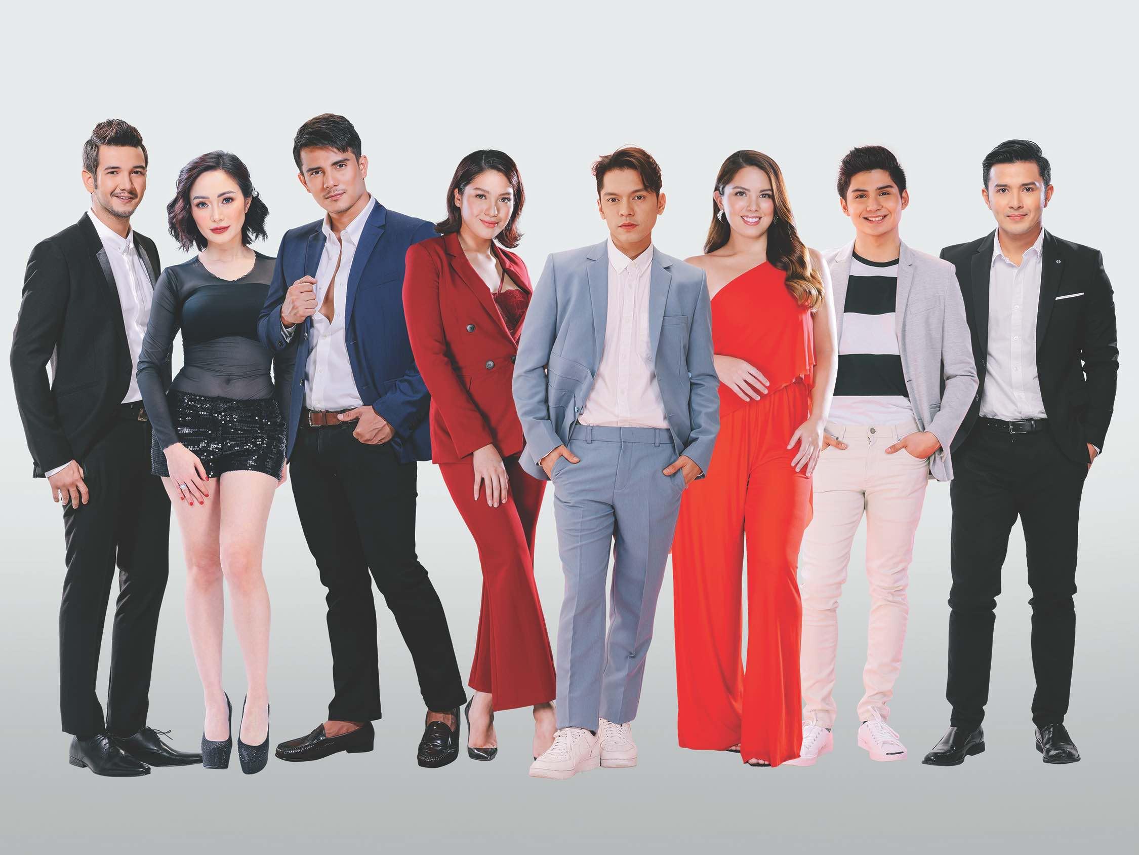 From left, Matt Evans, Kitkat, Ejay Falcon, Jane Oneiza, Carlo Aquino, Ria Atayde, Rylle Santiago and Alex Castro are the new members of Beautederm family