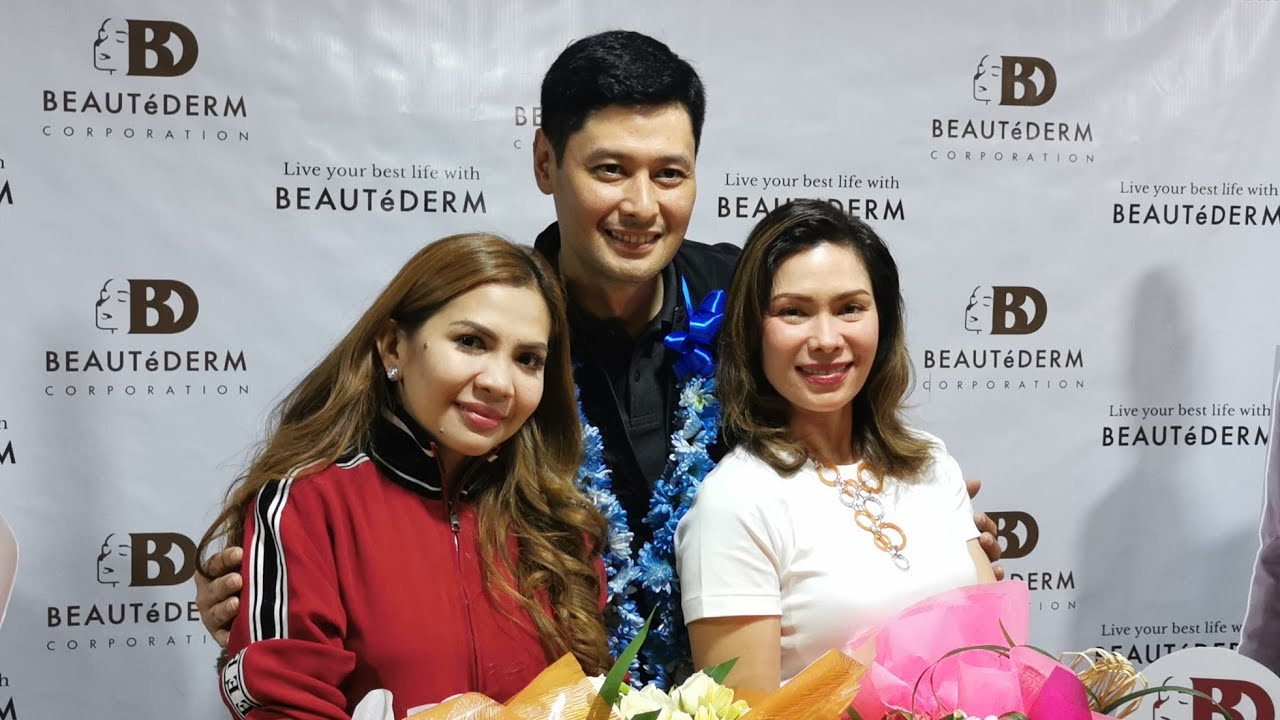 At the media launch of BeauteDerm's new ambassador, Tonton Gutierrez, and Glydel Mercado's contract renewal with the company's founder and CEO, Rhea Anicoche Tan