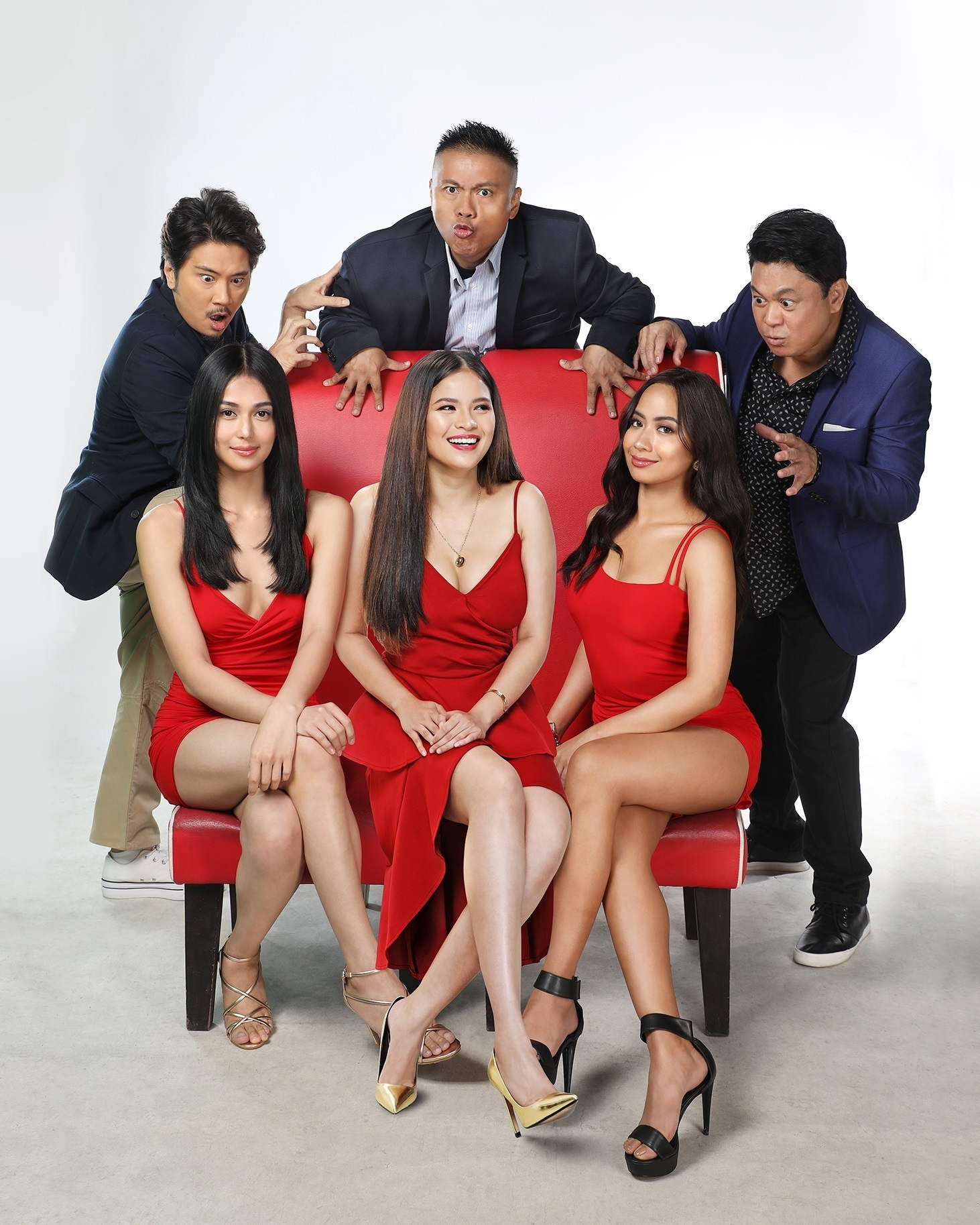 The cast of Sanggano, Sanggago't Sanggwapo: standing from left, Janno Gibbs, Andrew E., and Dennis Padilla; seated from left, Vanessa Wright, Louise de los Reyes,Debbie Garcia