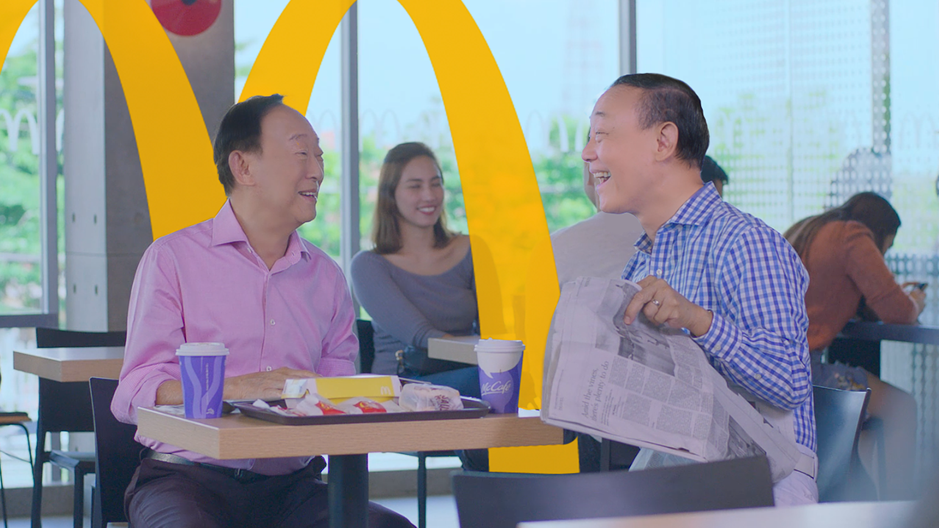 George Yang ang Jose Mari Chan in a scene in the online video they made