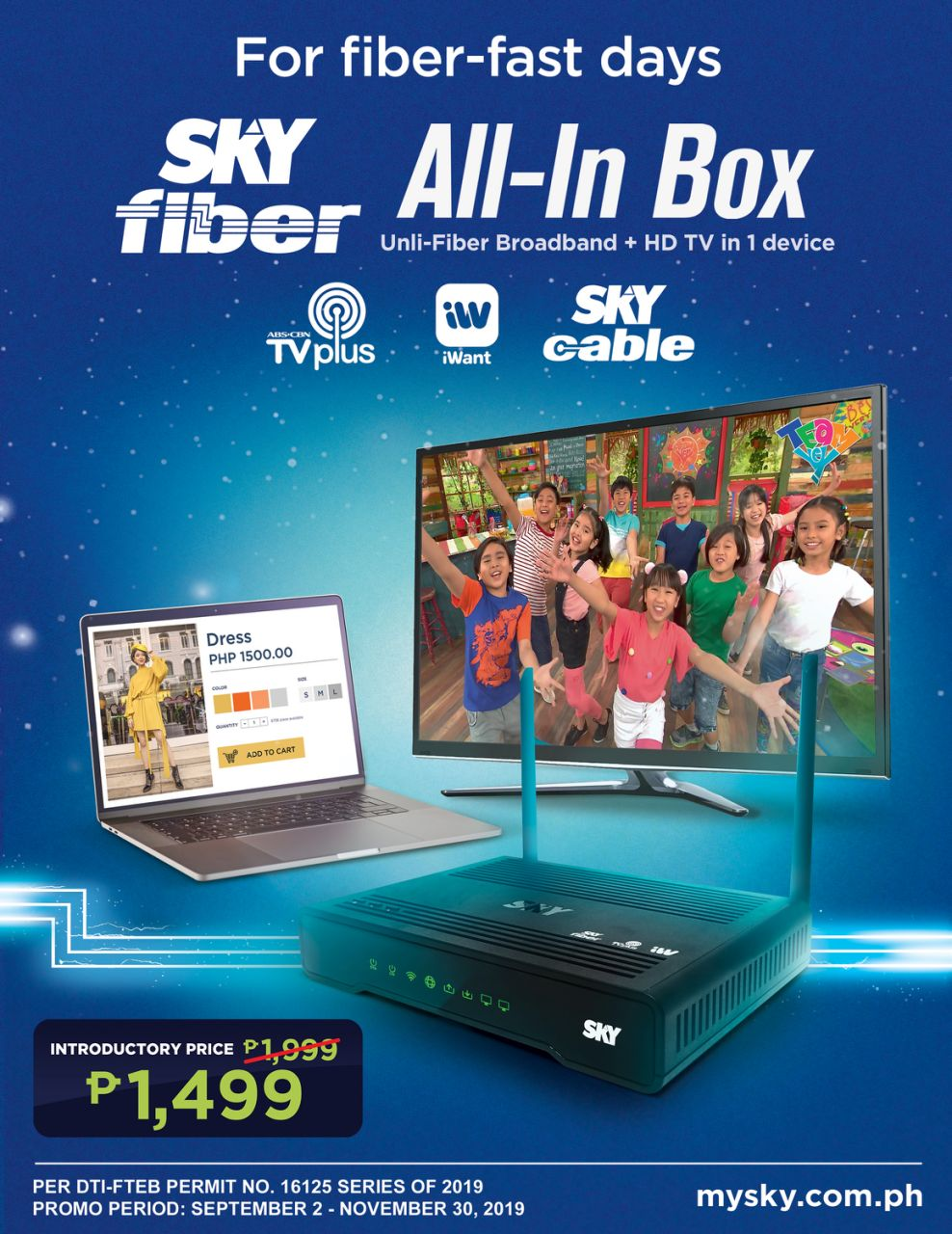 For only P1,499 you can have Skyfiber and cable in one