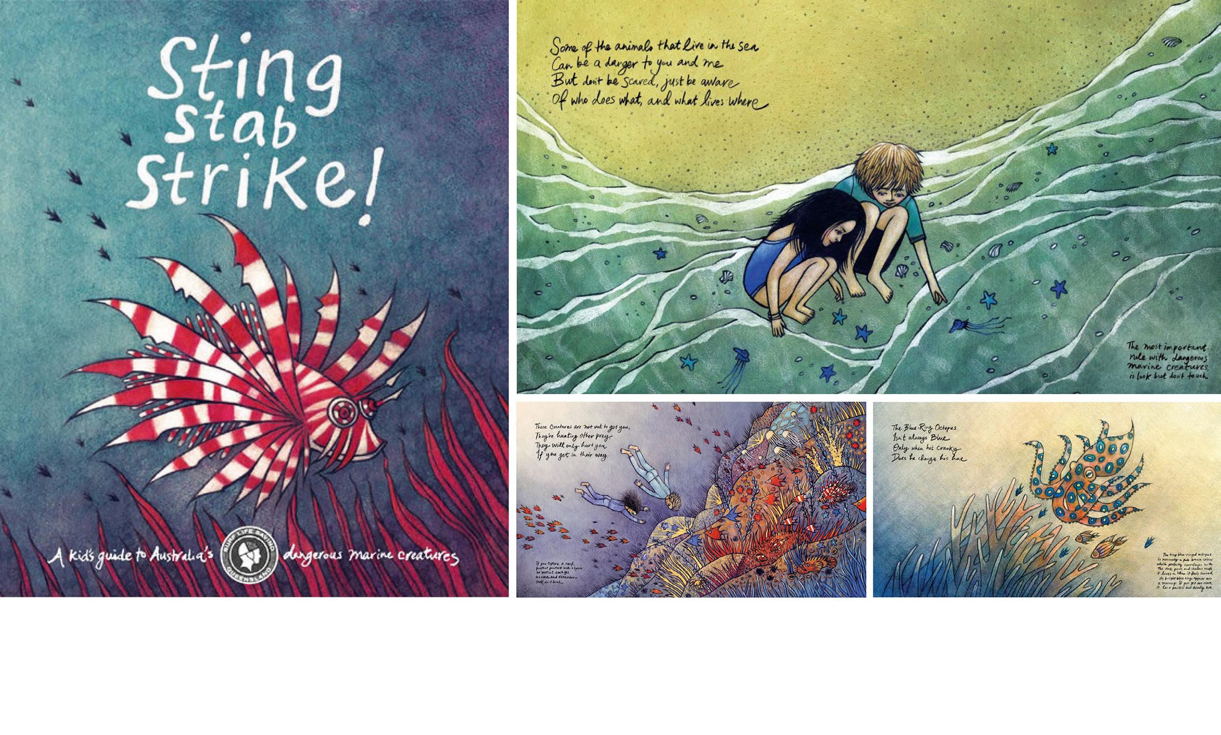 STING STAB STRIKE     Illustrated children's book by Heidi Green
