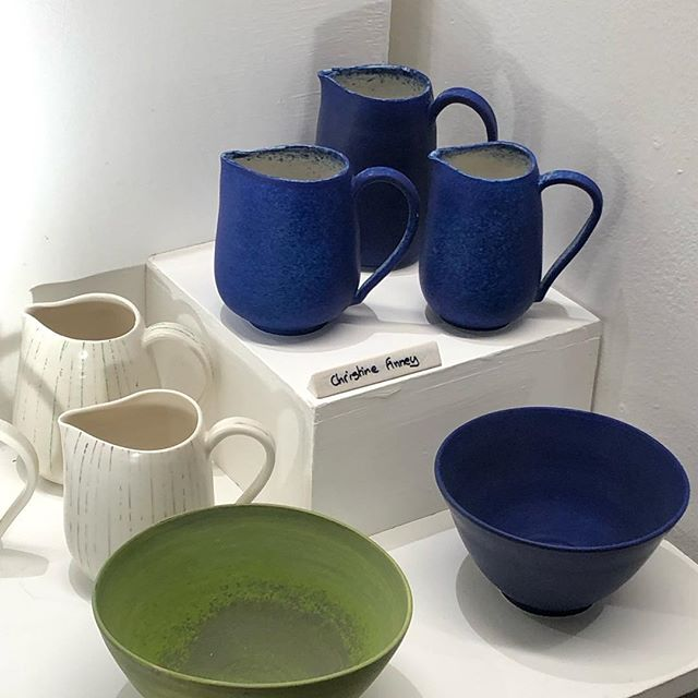 Just visited a very busy private view of the @anglianpotters exhibition in the Undercroft Norwich. Many fabulous pieces of work to see and buy.  #anglianpotters #porcelain #jugs #bowls #pottery #norwich