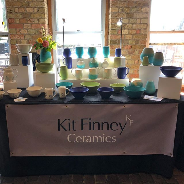 All set up on this beautiful sunny day at the Maltings, Ely for this years Art Unequalled  #porcelain #pottery #art #colours #sunnyday #jugs #bowls