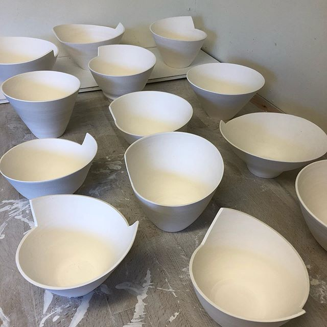 Some bisque fired new shaped bowls waiting to be glazed in readiness for Wilbraham Food and Craft Fair nest Cambridge on 29th September. The successful fair has been extended this year so more to see and buy!  #pottery #porcelain #bowls #wilbrahamfoodandcraftfair #anglianpotters #cambridge #craftfairs