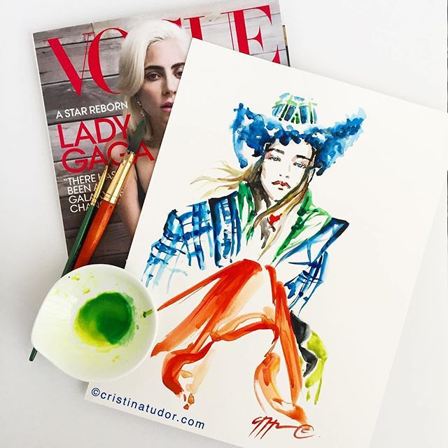 """Tb to October and this beautiful illustration of the Vogue cowboy hat shoot by @thecristinatudor 💚💙🧡 . """"Don't you just love her fun outfit? Playful and colorful, with a great mix of patterns and textures, especially the blue faux fur on the hat brim! I just love this whole outfit! Awesome styling @lucindachambers !! 💙 I was inspired by the October issue of @voguemagazine again today to paint this faux fur and tartan @lizziemcquade cowboy hat, @driesvannoten plaid blue coat from @saks and @sportmax puffer vest and orange dress 💚 Who says fall has to be boring? 🧡 . . . . . . . #fashionillustrator #fashionillustrators #livefashionillustrator #fashionsketch #lucindachambers #cowboyhat #voguemagazine #lizziemcquade  #driesvannoten"""