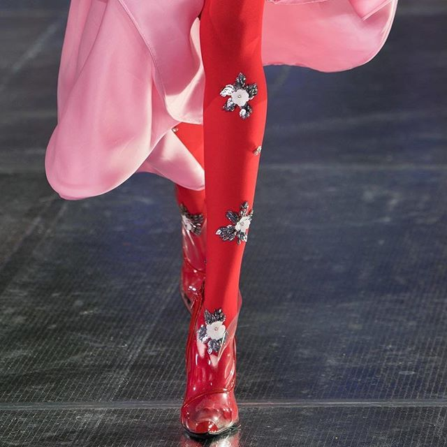 """❤️💕PINK and RED💕❤️ you might have guessed I have a thing for this colour combo! Such an exquisite #rodarte show. I love the pretty glowing satin, the hand applied details on the tights, and the plastic boots to add an interesting edge.  Always my favorite! #rodarte #fashionweek #la #pinkandred #inspiration #colour  Photo by @rodarte . """"❣️"""""""