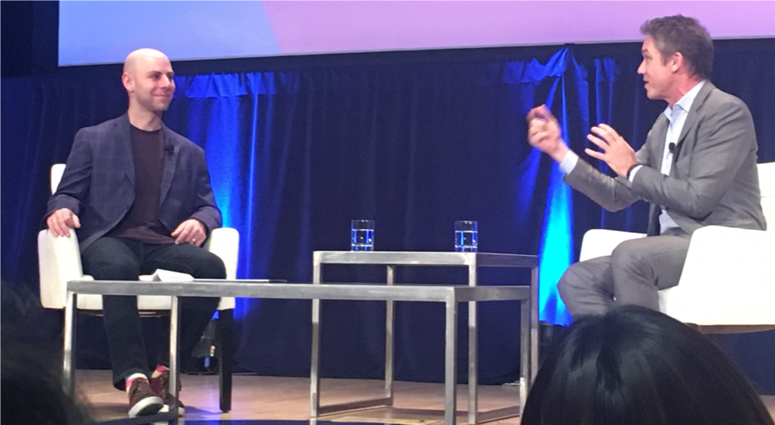 Adam Grant and Marcus Buckingham during their absorbing tête-à-tête at Wharton PAC 19
