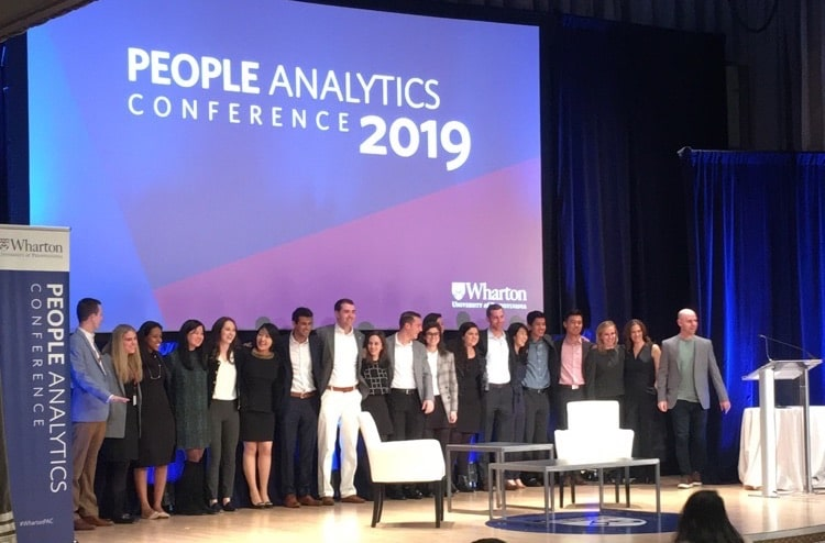 The organisers of Wharton PAC 19 - mainly students - gathered on stage at the culmination of the conference (Pic courtesy of Chris Lyons, Worklytics)
