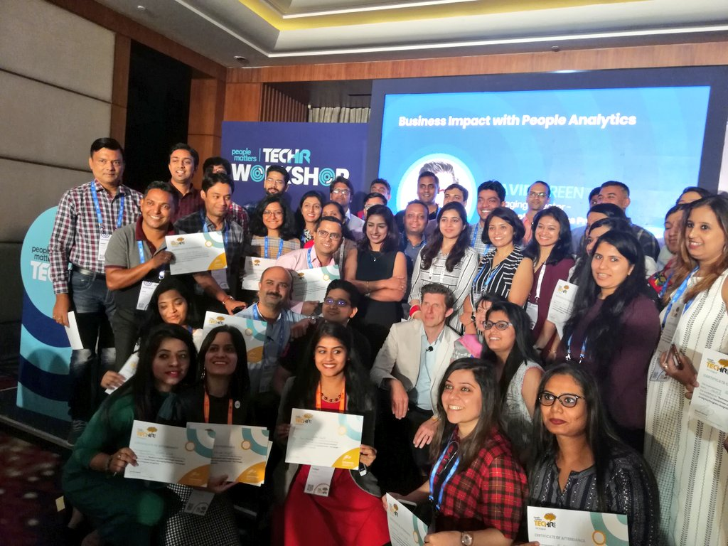 Attendees of my workshop at People Matters TechHRIN with their certificates!