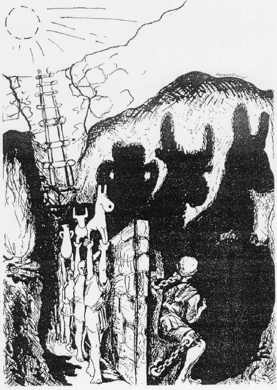 "Plato's ""Allegory of the Cave"", drawing by Markus Maurer, 1996"