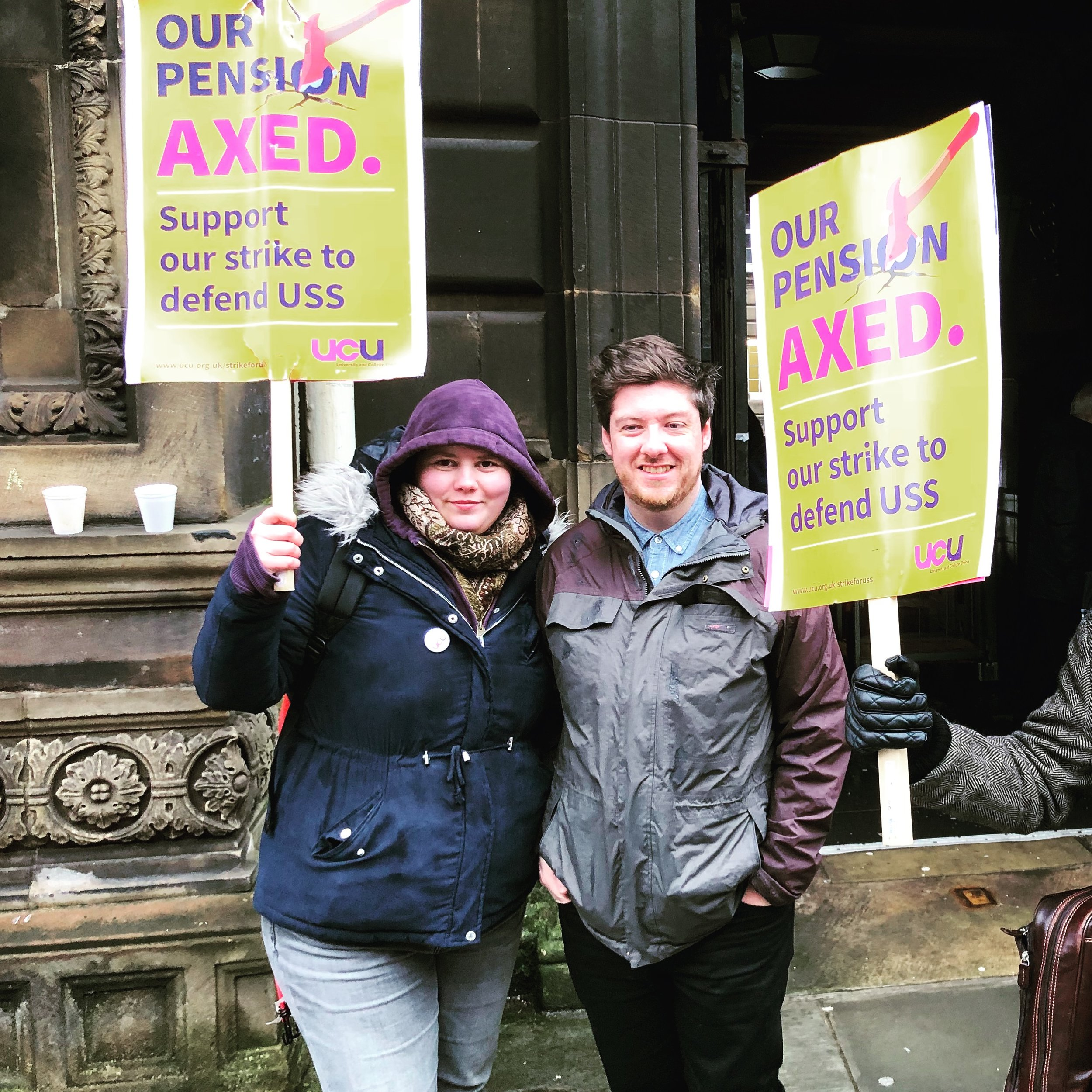 Picketing outside HCA on Teviot Place, Monday 5 March