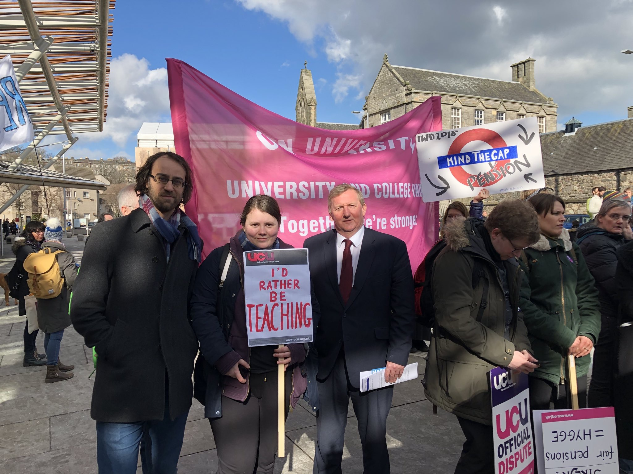 With Labour MSP Alex Rowley at the All-Scotland UCU Rally outside Scottish Parliament, Thursday 8 March