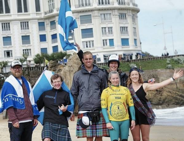 Scotland waving their flag on the Grande Plage
