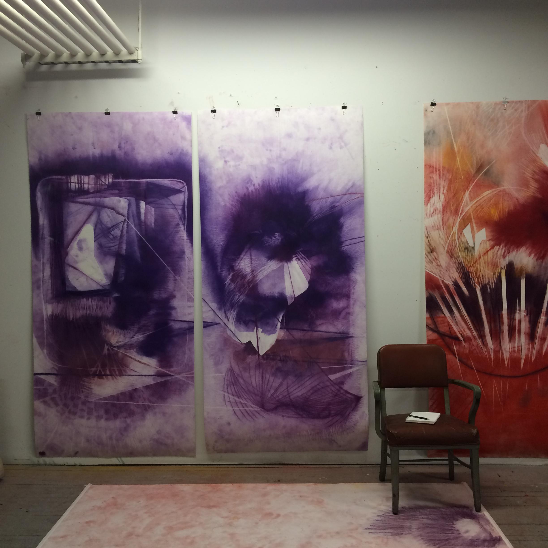 ENFOLD I & II, pastel on paper