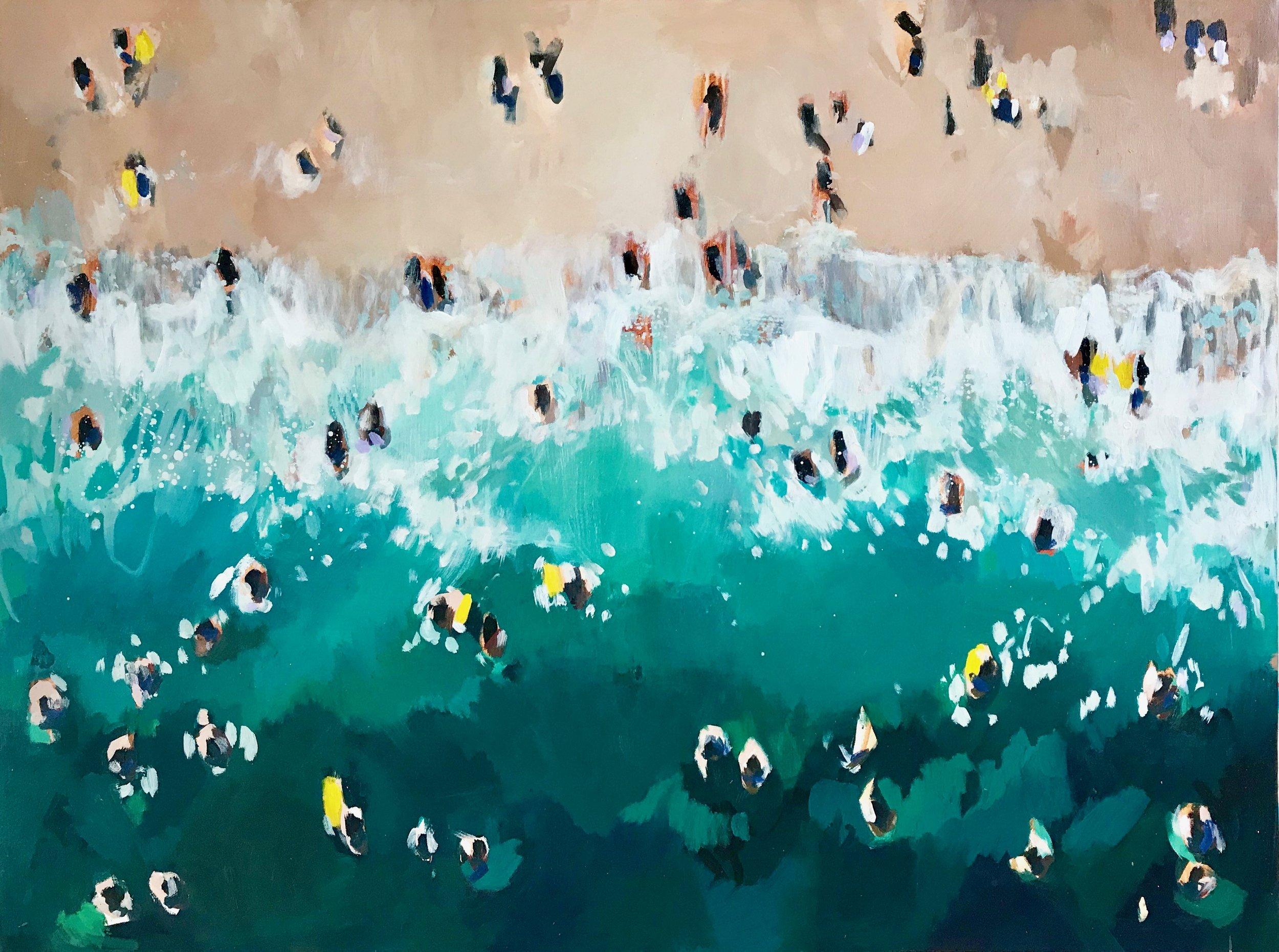 Nina Brooke Yellow Shoreline Acrylic on canvas 95cm x 120cm SOLD