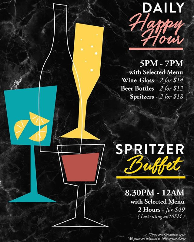 🍻Our Spritzer buffet and happy hour is now up and running! 🍾 ALL DAY! Be sure to visit us! 🥂