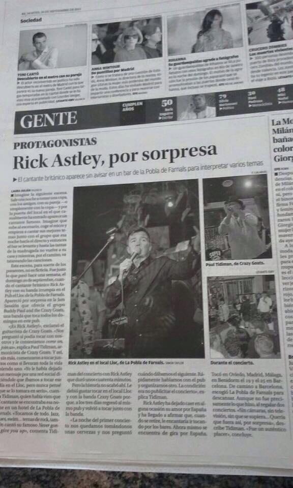 Publication in Levante Newspaper. Rick Astley.